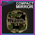 ARMY CAMOUFLAGE PRINT PERSONALISED NAME GIFT COMPACT LADIES METAL HANDBAG MIRROR